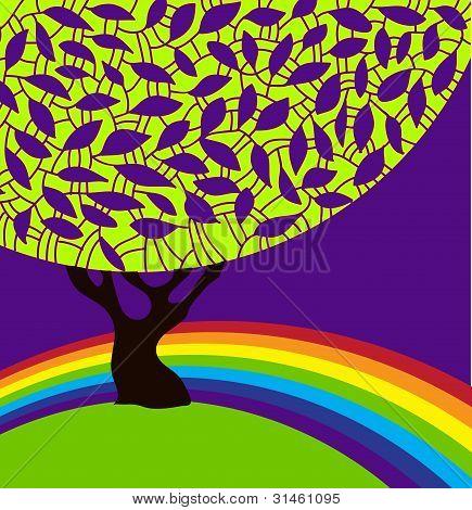 Tree and rainbow.