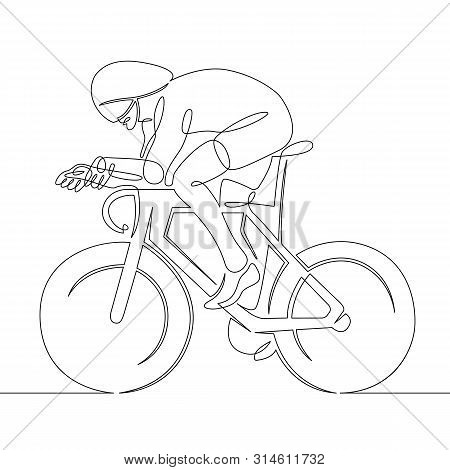 One Continuous Single Drawn Line Art Doodle Man Cyclist, Bicyclist, Cycler, Wheelman, Bicycler . Iso