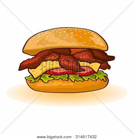 Chicken Or Bacon Burger Including Slices Of Meat, Cheese, Lettuce, Tomato, Sauce In Fresh Toasted Bu