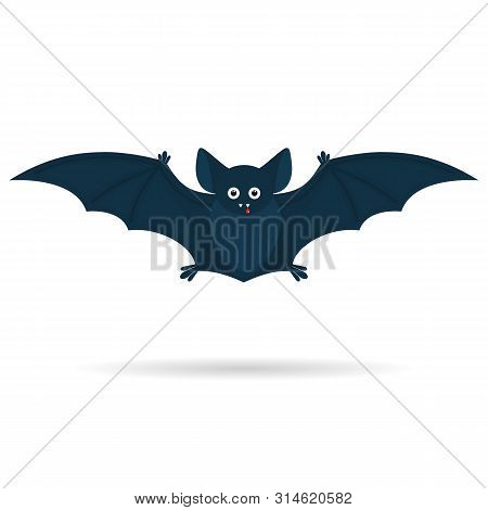 Been A Halloween Cute Bat With A Drop Of Blood Isolated On A White Background. Illustration.