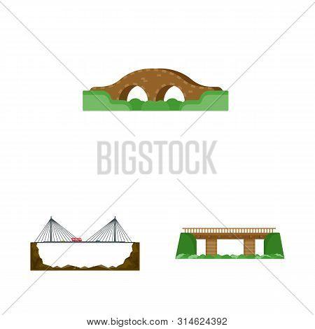 Vector Illustration Of Bridgework And Bridge Sign. Set Of Bridgework And Landmark Vector Icon For St