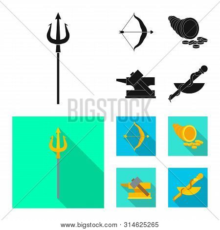 Isolated Object Of Deity And Antique Icon. Set Of Deity And Myths Vector Icon For Stock.