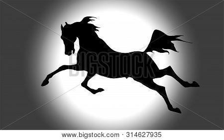 Vector Pen-drawn  Image Of A Black Silhouette Of A Galloping Horse On A Monochrome Background