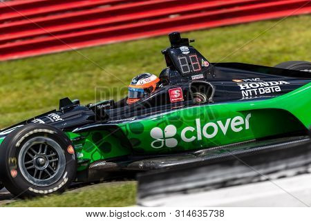 July 26, 2019 - Lexington, Ohio, USA: FELIX ROSENQVIST (10) of Sweden  practices for the Honda Indy 200 at Mid Ohio at Mid-Ohio Sports Car Course in Lexington, Ohio.