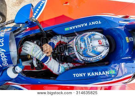 July 26, 2019 - Lexington, Ohio, USA: TONY KANAAN (14) of Brazil  prepares to practice for the Honda Indy 200 at Mid Ohio at Mid-Ohio Sports Car Course in Lexington, Ohio.