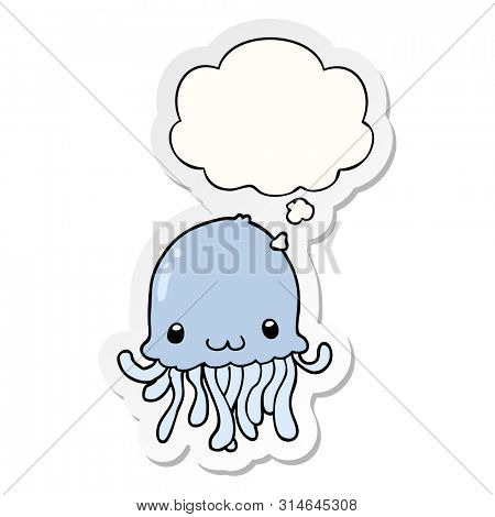 cartoon jellyfish with thought bubble as a printed sticker