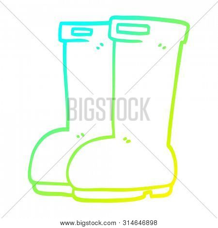 cold gradient line drawing of a cartoon red wellies