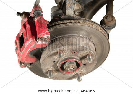 Old Brake Pads And Disk (isolated)