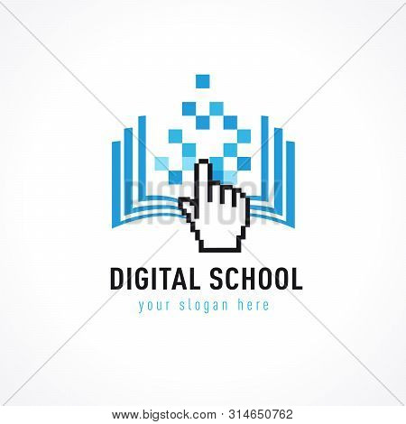 Online Education Logo Template. Online Learning Concept, Open Book With Pixels Click Cursor, Digital