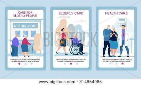 Advertising Poster Care For Elderly People Flat. Set Banner Elderly Care, Health Care. Elderly Coupl