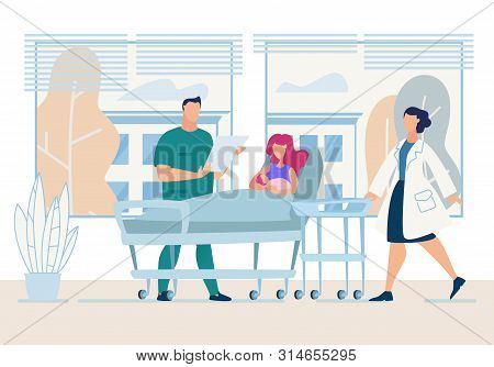 Banner Newly Born Young Mother Lying In Hospital Ward With Tiny Daughter Visit By Attending Doctor A