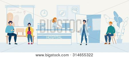 Advertising Flyer Hospital Admission Department. Territory Medical Center. People Are Waiting For Do