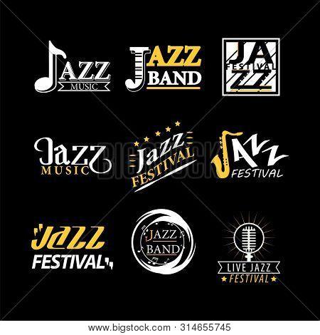 Jazz festival logos set isolated on black background. Jazz festival logotypes, advertisement emblems with musical symbols for jazz music promotion.  illustration of labels for jazz brand