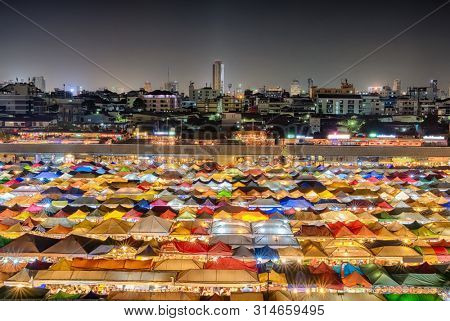 Aerial view of Talad Rod Fai night market in Bangkok, Thailand