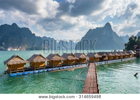 Raft houses on Cheow Lan lake in Khao Sok National Park, Thailand