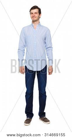 Front view of man in jeans. Standing young guy. Rear view people collection. backside view of person. Isolated over white background.