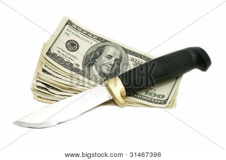dollars and knife
