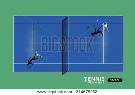 Men Playing Tennis On A Hard Court