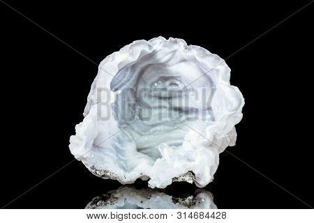 Open Raw Quartz Druse Or Geode Mineral Stone In Front Of Black Background, Mineralogy And Esotericis