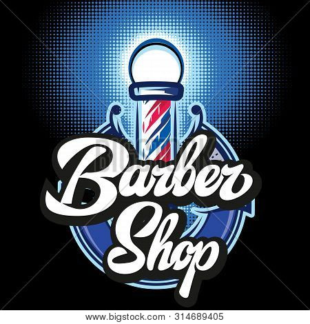 Colored Templates For Barber Pole On The Topic Of Barber Shop With Calligraphic Inscription.