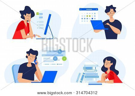 Flat Design Concept Of Distance Education, Online Courses, E-learning, Tutorials, Apps. Vector Illus