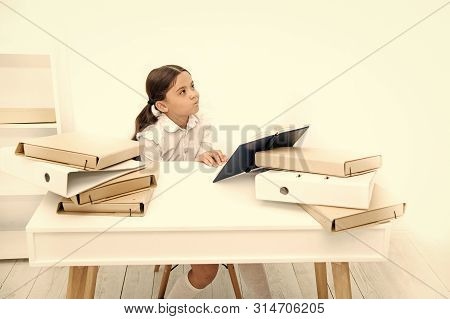 Boring Lesson. Boring Task Homework. Get Rid Of Boring Task. Girl Bored Pupil Sit At Desk With Folde