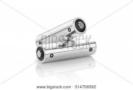 Metallic Alkaline Batteries Aa-size Isolated On White Background With Clipping Path