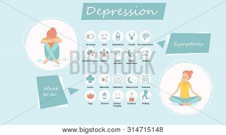 Depression Signs And Symptoms Infographic Concept.despair, Psychology, Adult, Miserable, Depressed,