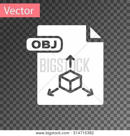 White Obj File Document. Download Obj Button Icon Isolated On Transparent Background. Obj File Symbo