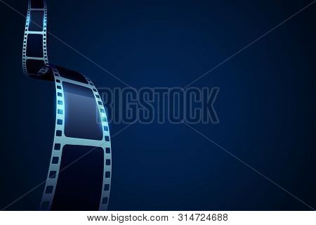 Modern Realistic 3d Cinema Banner With Film Stripe Roll. Festival Leaflet Or Banner Template With Sa