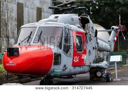 Doncaster, Uk - 28th July 2019: The Lynx Helicopter From The Hms Endurance - The Royal Navy Ice Vess