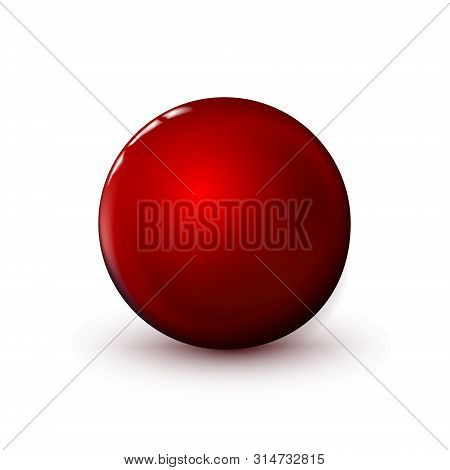 Red Glossy Sphere, Polished Ball. Mock Up Of Clean Round The Realistic Object, Glassy Orb Icon. Geom