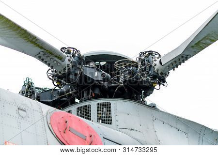 Doncaster, Uk - 28th July 2019: Close Up Of The Helicopter Rotor From A Lynx Helicopter