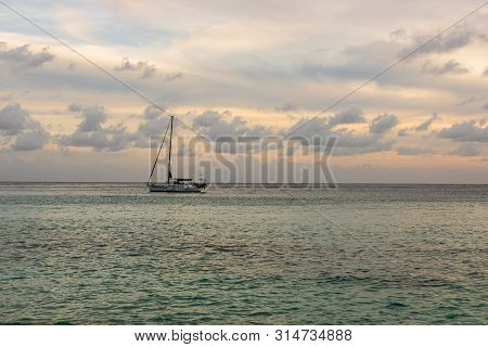St. Barth's Island (st. Bart's Island), Caribbean. Sailing Boat With A Beautiful Sky In Background I