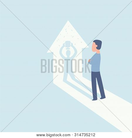 The Winner. Businessman Watches His Shadow And Contemplating About Victory. Business Vector Concept