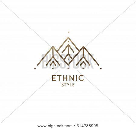 Modern Esoteric Abstract Mountain Logo. Zen Minimal Symbol Of Sacred Pyramides. Natrural Minimalisti