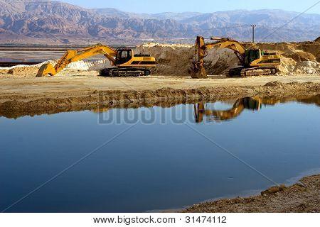 Excavator Machines near Dead Sea