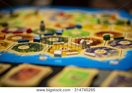 Kharkiv, Ukraine - January 05 2018: The Settlers Of Catan Board Game, Ongoing Multiple Player Game.