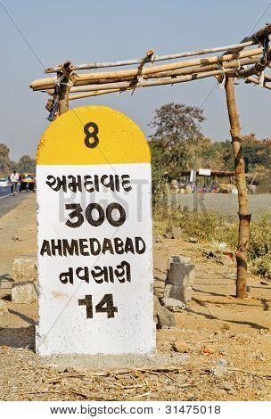 Portrait Of Nh8 300 Kilometer Marker To Ahmedabad Nh8