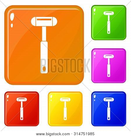 Reflex Hammer Icons Set Collection Vector 6 Color Isolated On White Background