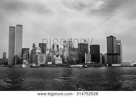 Twin Towers Nyc. Archival And Historical Cityscape Of New York Skyline From Hudson River With World