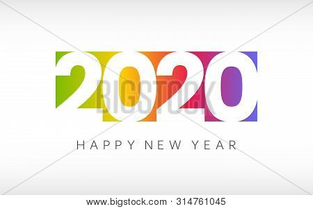 Happy New Year 2020. Colorful Greeting Card On White Background. Minimal Design. Color Gradient With