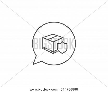 Delivery Insurance Line Icon. Chat Bubble Design. Parcels Tracking Sign. Shipping Box Symbol. Outlin