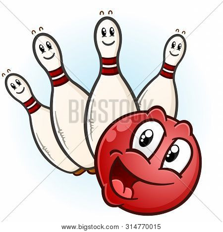 A Happy Red Bowling Ball With A Partial Set Of Pins Ready To Pick Up A Spare