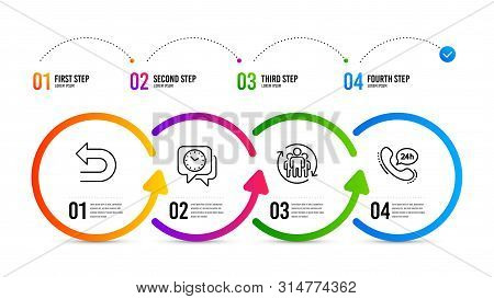 24h service sign. Infographics timeline. Undo, Clock and Teamwork line icons set. Left turn, Time, Employees change. Call support. Technology set. Undo icon. Timeline diagram. Vector poster