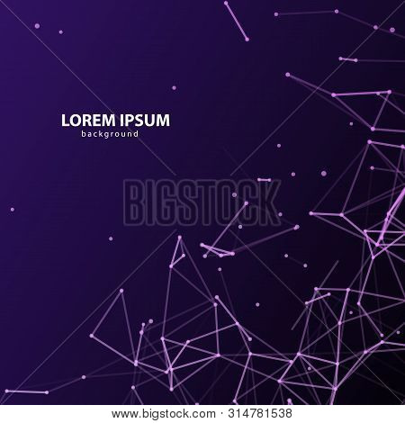 Abstract Plexus Violet Square Background With Purple Connected Lines And Dots. Vector Minimalistic G