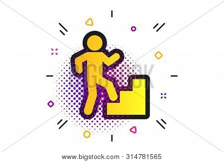 Upstairs Icon. Halftone Dots Pattern. Human Walking On Ladder Sign. Classic Flat Upstairs Icon. Vect