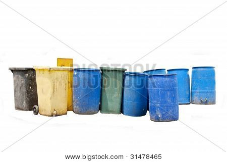 garbage bin on white background