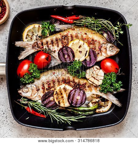 Grilled Skimmer Breams With Vegetables And Herbs, Square