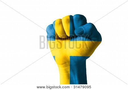 Fist Painted In Colors Of Sweden Flag